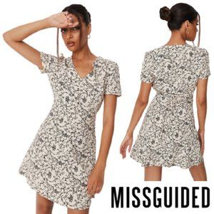 Missguided Stone Floral Tea Dress